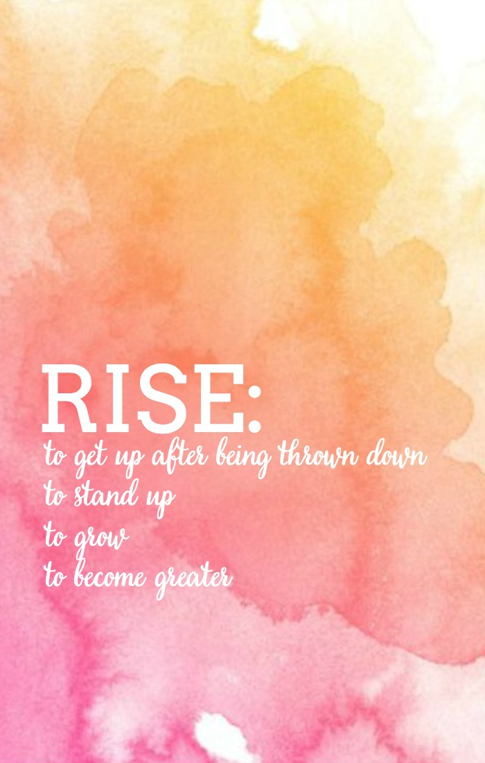 Rise. To stand. To grow. To become greater! This is my word for the year and this free word art printable is my constant reminder of where I want to be! | The Love Nerds