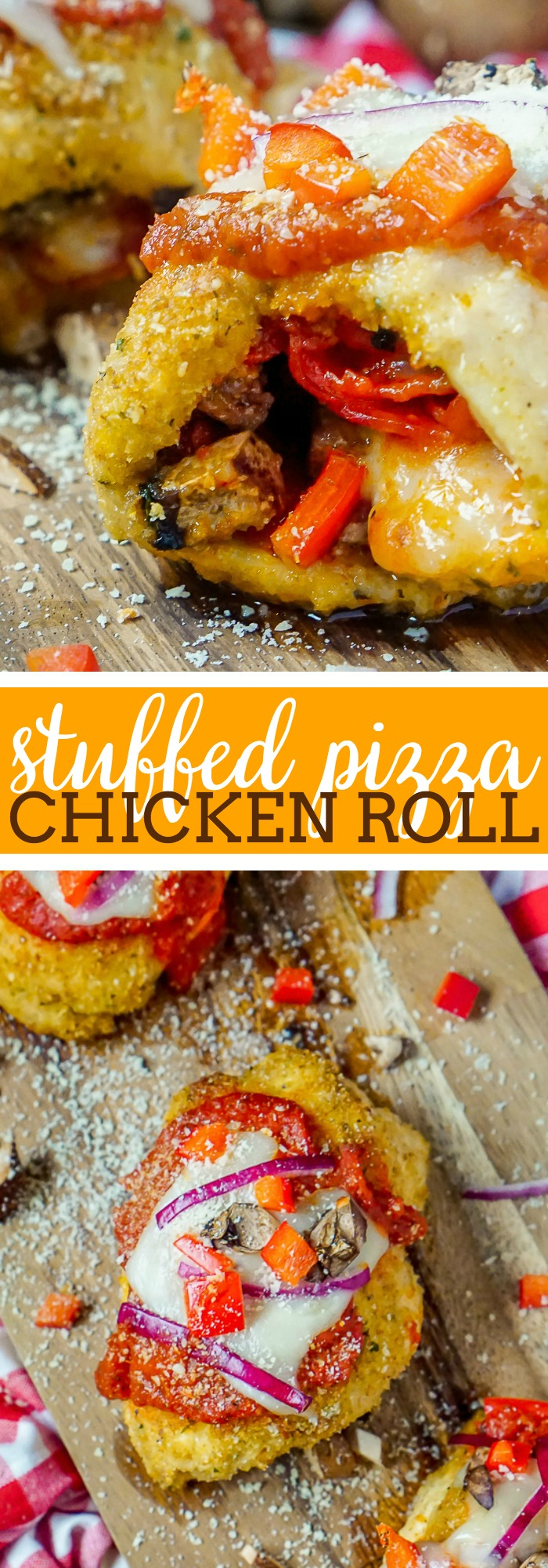 Stuffed Pizza Chicken Rolls Recipe - Add all your favorite toppings to this chicken roll up and enjoy a flavorful, healthier alternative to a slice of pizza! This stuffed chicken recipes makes an easy weeknight dinner!   The Love Nerds