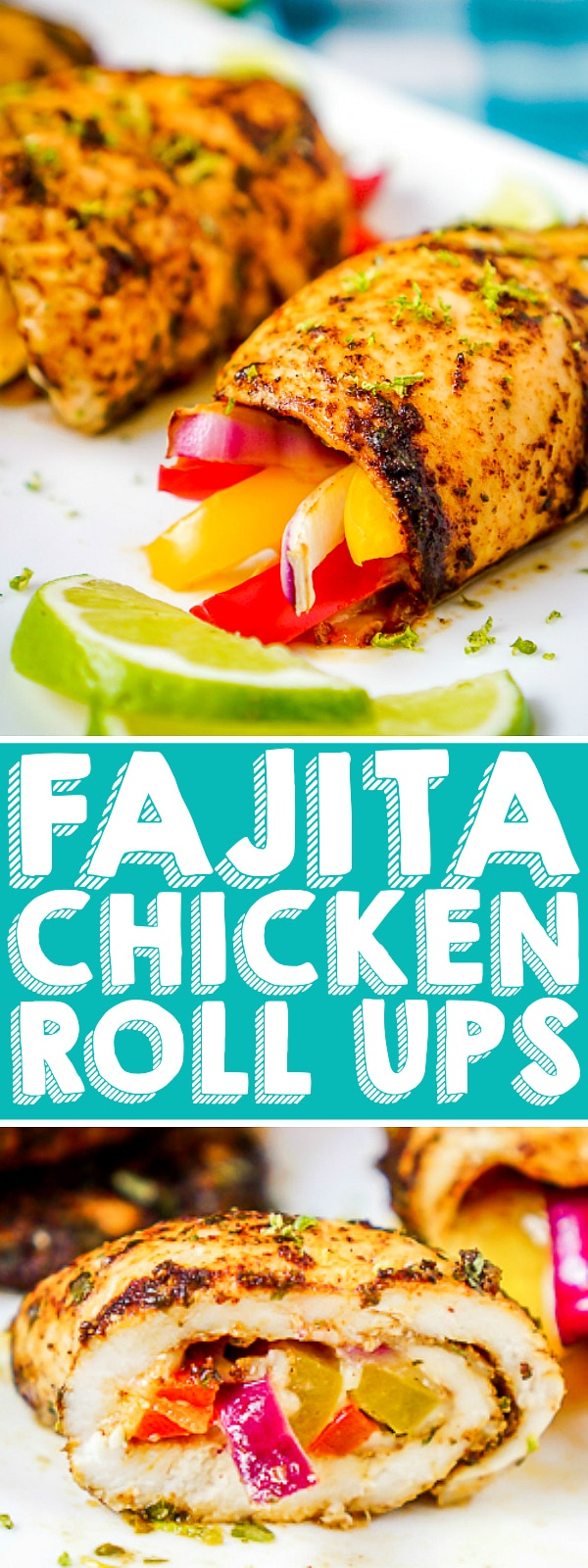 Baked Chicken Fajita Roll Ups - Make tangy, zesty chicken roll ups the whole family will love with this flavorful low carb dinner idea! Makes a great chicken freezer meal!   The Love Nerds #stuffedchicken #chickenbreastfreezermeal #chickenrolluprecipe