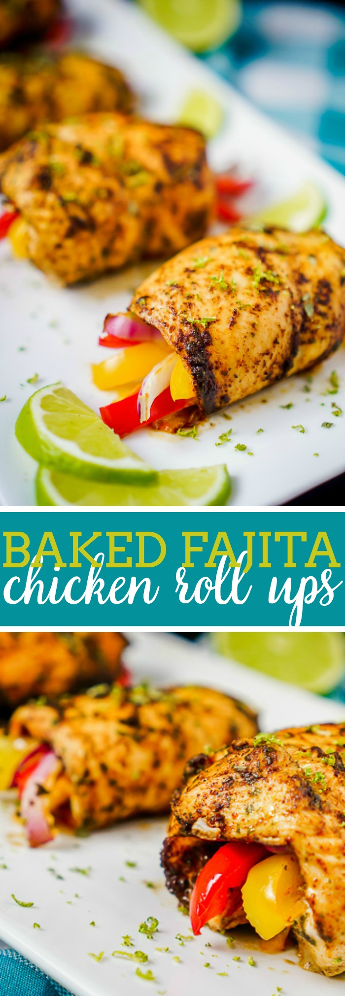 Baked Fajita Chicken Roll Ups - Make a tangy, zesty chicken recipe the whole family will love! Fabulous low carb dinner idea if you love chicken fajita recipes like we do! | The Love Nerds