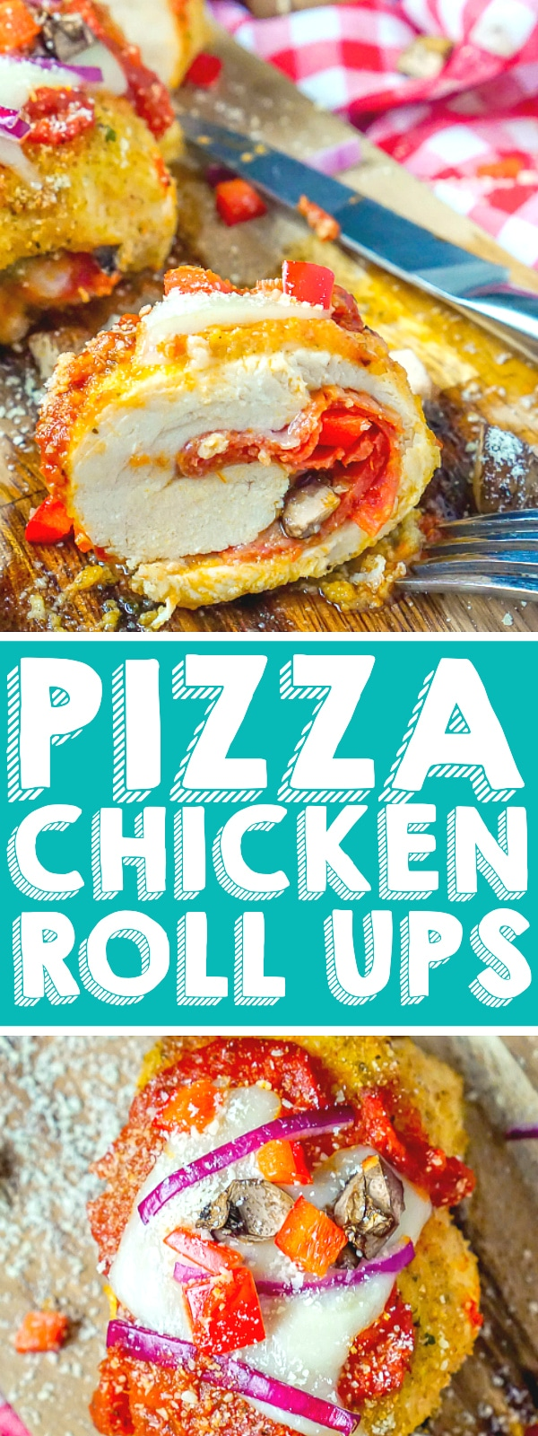 Stuffed Pizza Chicken Roll Up Recipe - Add all your favorite pizza toppings to these easy chicken roll ups and enjoy a flavorful, healthier alternative to a slice of pizza! This stuffed chicken recipes makes an easy weeknight dinner and work great as freezer meals! | The Love Nerds #stuffedchicken