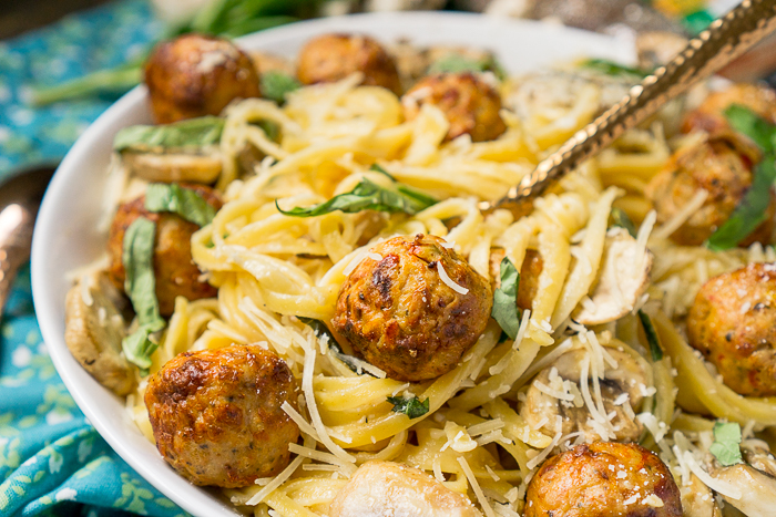 Sundried Tomato Chicken Meatballs with Mushroom Linguini Alfredo Recipe - Cooked Perfect Fresh Meatballs help make this a 20 minute prep dinner night! Nothing better than a tasty and easy dinner idea! | The Love Nerds #ad
