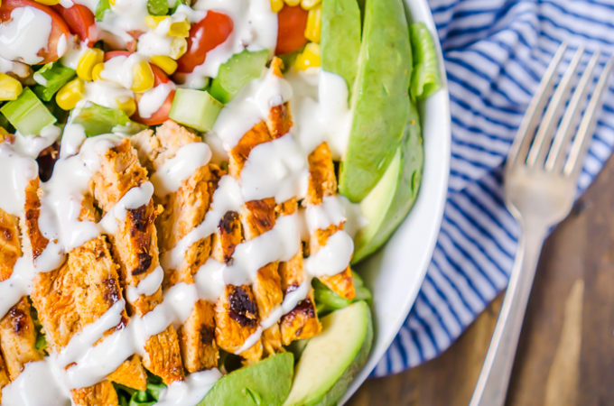 Buffalo Chicken Salad with Litehouse Chunky Bleu Cheese Dressing - Delicious salad with all the fixings! Perfect to prep for lunches and hearty enough to enjoy for a summer dinner idea! | The Love Nerds AD