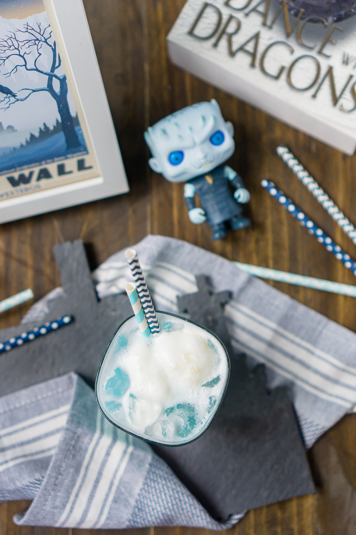 Game of Thrones Ice Dragon Cocktail Recipe - This Game of Thrones Recipe honoring the Ice Dragon and Night King is the perfect cocktail recipe for calming any nerves that comes with the show! | The Love Nerds #gameofthrones #gameofthronesrecipe #cocktailrecipe #bluecocktail