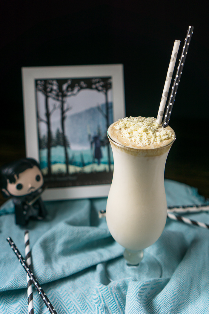 The White Walker Cocktail - Celebrate Jon Snow and his attempts to save the North with this Game of Thrones Inspired Cocktail Recipe. A delicious and frozen White Russian Milkshake Recipe! | The Love Nerds