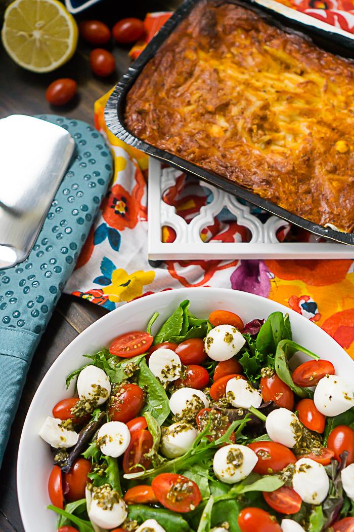 A fun new take on a caprese salad recipe with a homemade caprese salad dressing recipe