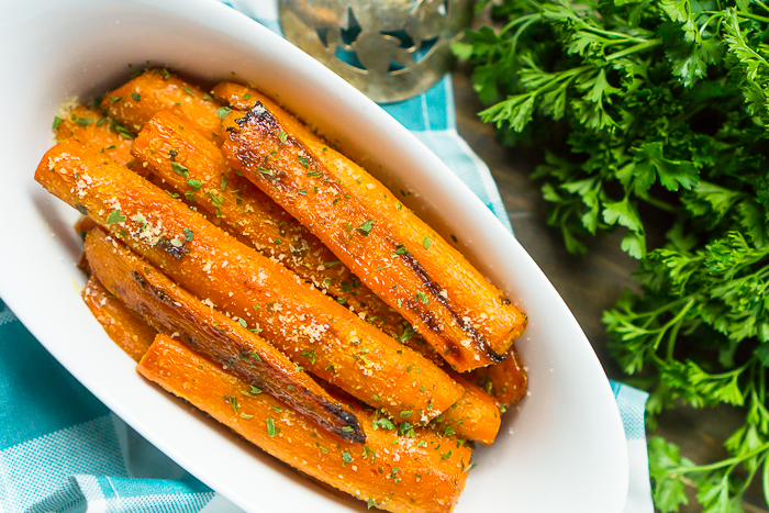 straight down shot onto easy carrot side dish recipe and sprinkled with parsley.