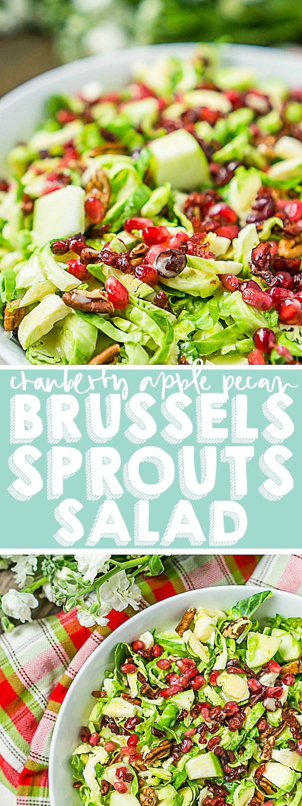 With only 15 minutes of prep time, this crunchy Cranberry Apple Brussels Sprouts Salad recipe is a satisfying salad for your holiday table! Cranberries, apples, and pecans combine for a perfect seasonal holiday side dish. | THE LOVE NERDS #Thanksgivingsalad #Christmassalad
