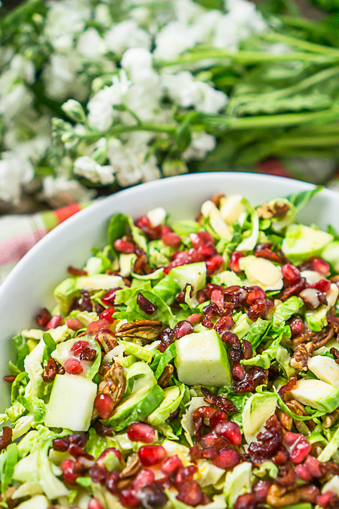 Cranberry Brussels Sprout Salad with Pomegranates and Pecans - Crunchy Seasonal Salad Recipe - Holiday Salad