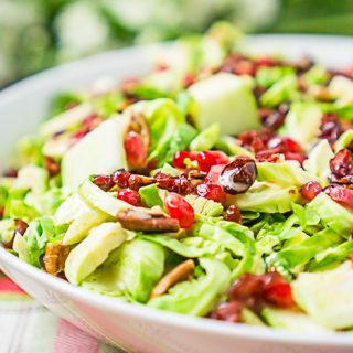 Brussels Sprouts Salad with Cranberries, Apples and Pecans