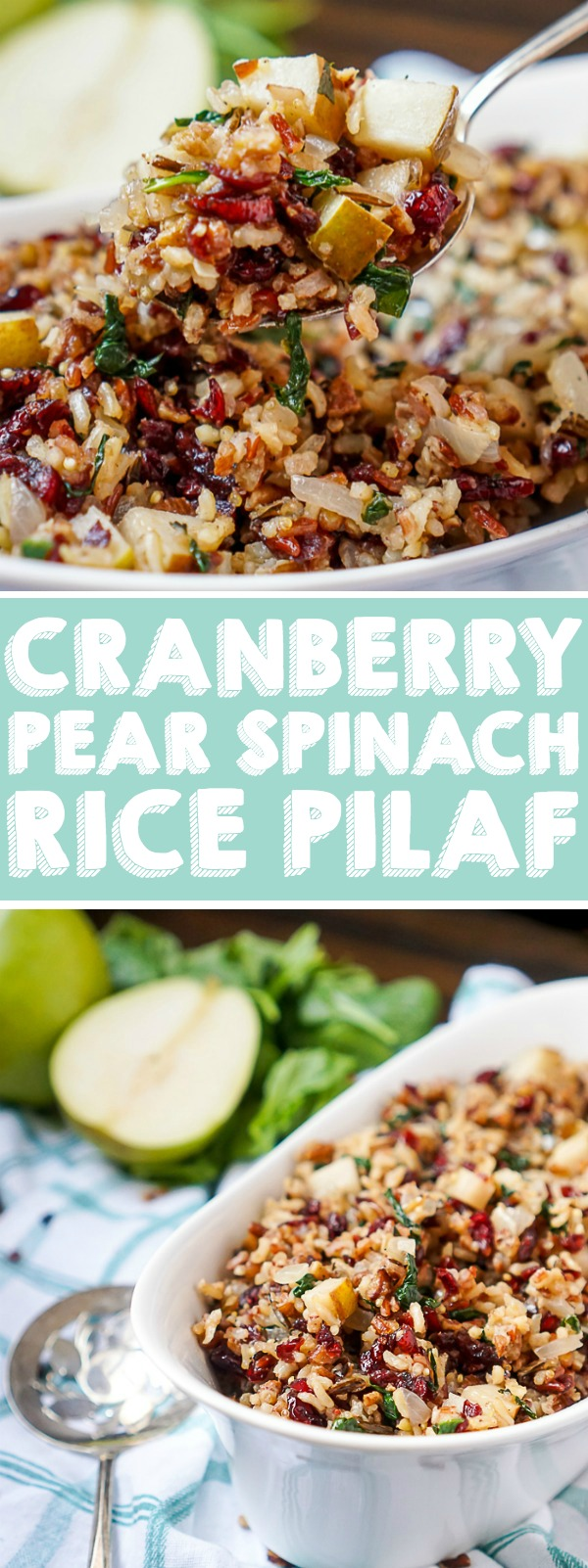 This Cranberry Pear Spinach Rice Pilaf will make a delicious new side dish for your holiday dinner! The spinach rice makes a hearty base for the slightly sweet cranberries and pears. With the little red and green, it really does make the perfect Christmas side dish recipe! | THE LOVE NERDS #Thanksgivingsidedish #Christmassidedish #Thanksgivingrecipe #Christmasrecipe