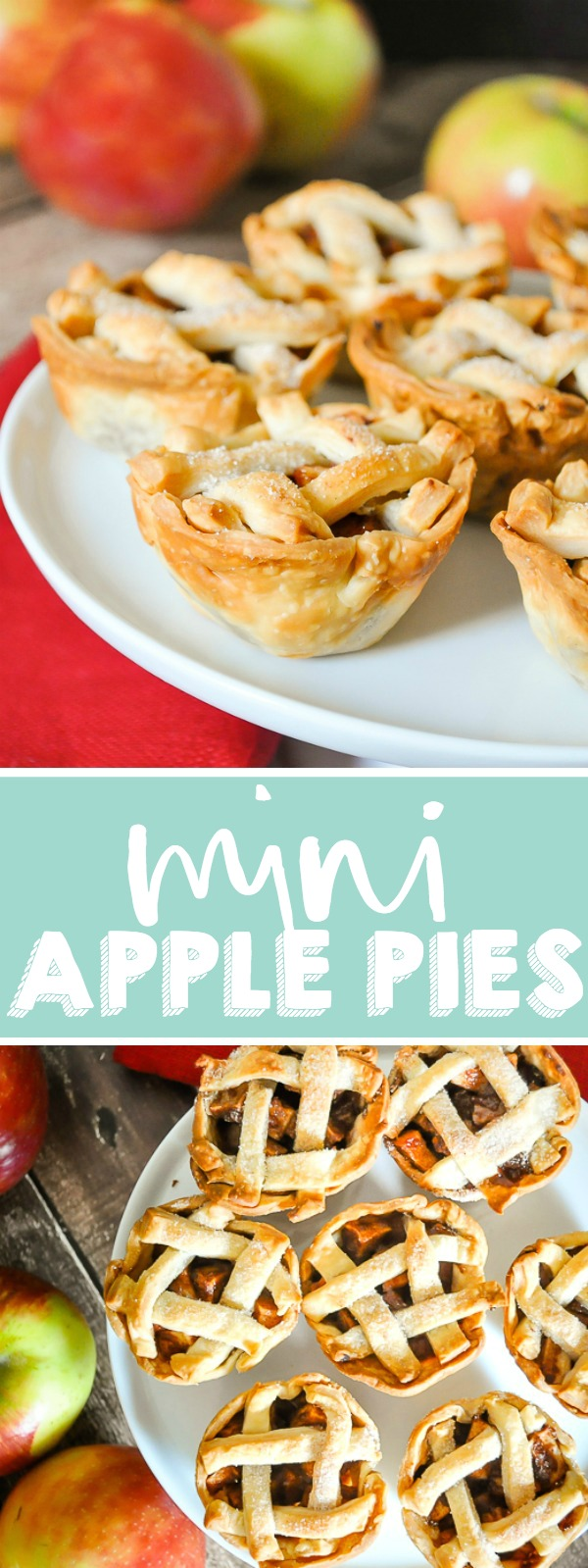 Mini apple pies are ideal for your holiday parties! Bake these individual apples pies in a muffin tin for an adorable holiday dessert and let guests easily serve themselves. Plus, they travel well for wherever you might be celebrating Thanksgiving or Christmas! | THE LOVE NERDS #thanksgivingdessert #christmasdessert #thanksgivingpie #christmaspie