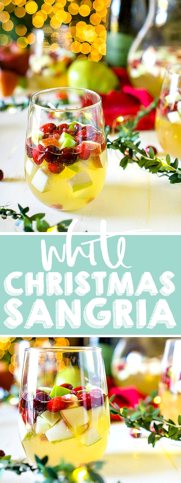I'm dreaming of a White Christmas Sangria, filled with tasty red and green fruit for a festive holiday cocktail! Just fill up the sangria pitcher with red and green apples, pears, cranberries and pomegranates and some white wine and prosecco! Lightly sweet and tangy fruit makes a an easy Christmas punch. | THE LOVE NERDS #christmascocktail #sangriarecipe #holidaypunch