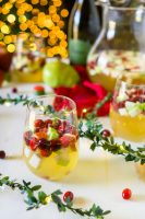 Sparkling Sangria with Cranberries, Pears, Apples, and Pomegranates