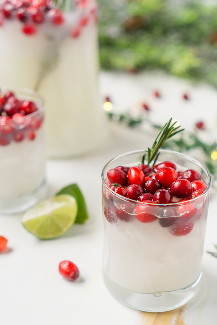 Start a New Tradition with White Christmas Margaritas! Cranberry Coconut Margaritas are lightly sweet, making the perfect holiday cocktail to sip at a Christmas party.