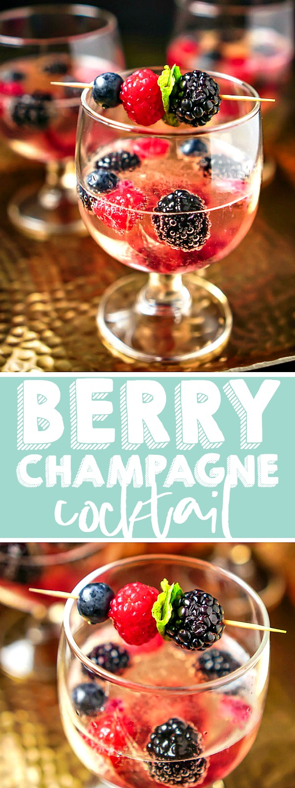 Sparkling Berry Champagne Cocktail is a gorgeous and tasty holiday cocktail recipe everyone will love! A perfect sparkling wine drink recipe for New Year's, Valentine's Day, Bridal Showers and more with easy make ahead three berry syrup! | THE LOVE NERDS #proseccococktail #sparklingcocktail #newyearseverecipe #valentinesdayrecipe #bridalshowercocktail