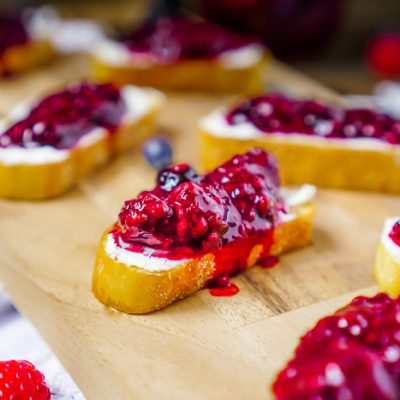 Berry Goat Cheese Crostinis