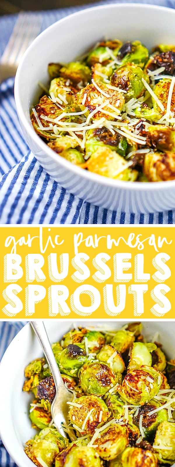 These oven roasted Brussels sprouts are lightly seasoned with garlic and parmesan, resulting in a winning flavor combination the whole family will love! Fresh, crunchy and so easy to make, this Brussels sprouts side dish is a winner!  Easy enough to make for a weeknight dinner OR as a holiday side dish! | THE LOVE NERDS #christmassidedish #thanksgivingsidedish #brusselssproutsrecipe #ovenroastedvegetable