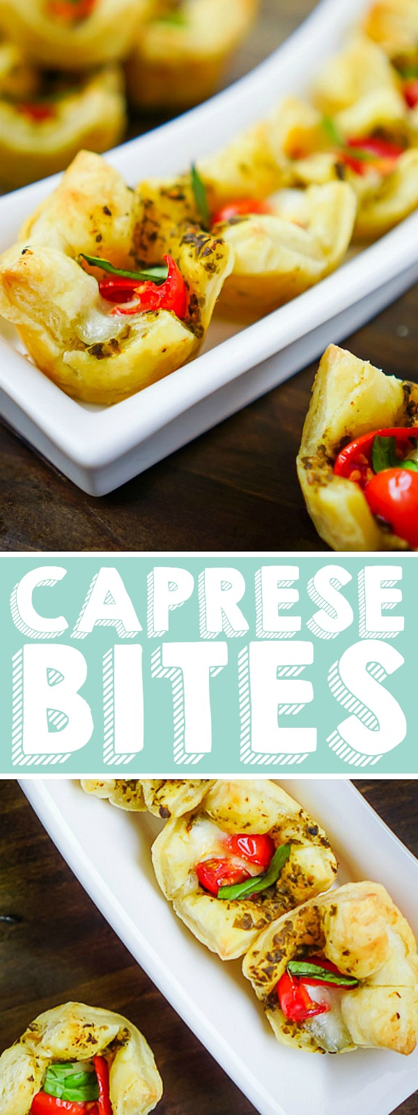 These Mini Puff Pastry Caprese Bites have been one of my favorite bite sized appetizers for years! It's a must make puff pastry appetizer that only takes 4 ingredients with an optional basil garnish. An easy, fresh, and festive holiday appetizer! | THE LOVE NERDS  #capreserecipe #thanksgivingappetizer #christmasappetizer #newyearsappetizer