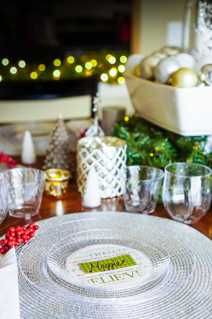 DIY Holiday Decorations with a DIY for custom plates that can be used for Christmas, New Years, Bridal Showers, Baby Showers, and more!