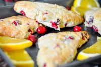 Orange Cranberry Scones with Optional Egg Nog
