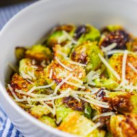 Garlic Parmesan Pan Roasted Brussels Sprouts