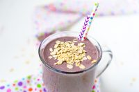 A delicious fruit smoothie packed with superfoods as well as banana, ginger and oats to potentially help soothe the stomach! Makes it a great pregnancy smoothie recipe!