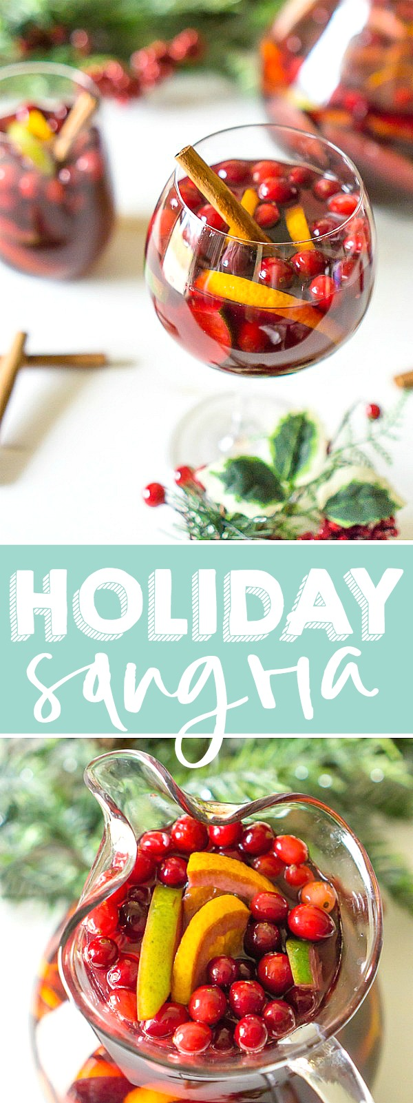 Don't forget to add a special holiday cocktail recipe to your Christmas menu this year, like this Citrus Cranberry Holiday Sangria! Filled with cranberries, citrus, pears, a subtle hint of cinnamon, and sweet red wine, you'll love every sip of this red sangria recipe!| THE LOVE NERDS #redchristmassangria #punchcocktail