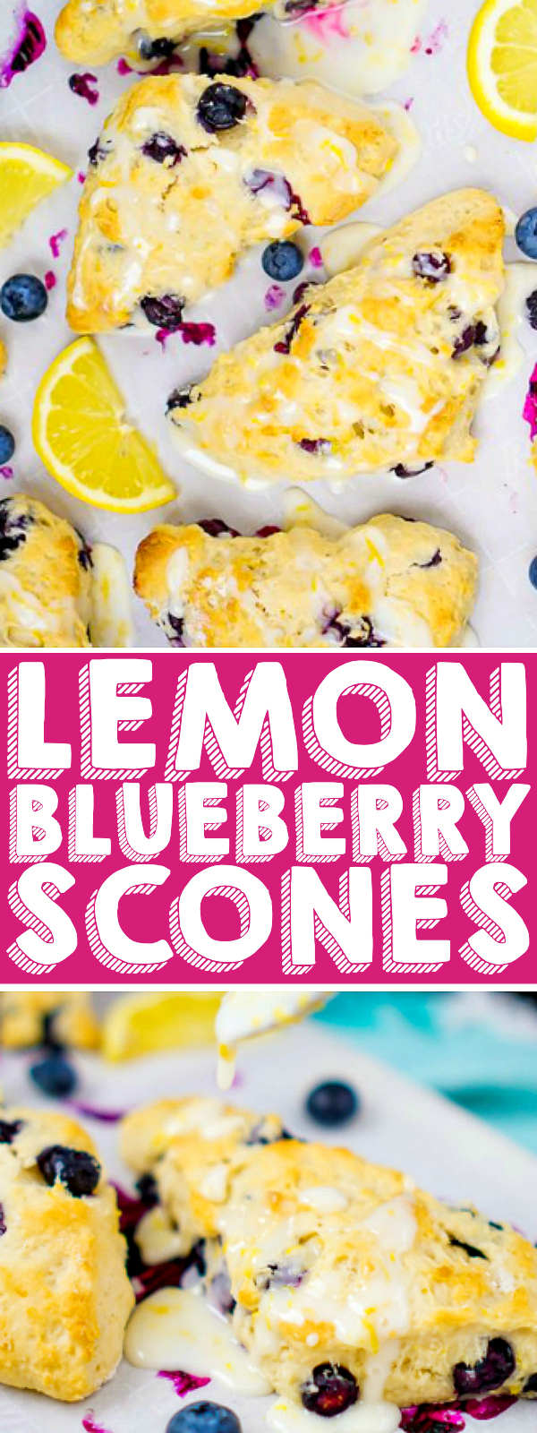 Glazed Lemon Blueberry Scones Recipe: This is the BEST SCONE RECIPE you will ever make! Sweet and tangy, this delicious citrus scone is full of flavor in every bite. The perfect breakfast pastry all year long! | The Love Nerds #christmasrecipe #easterrecipe #mothersdayrecipe