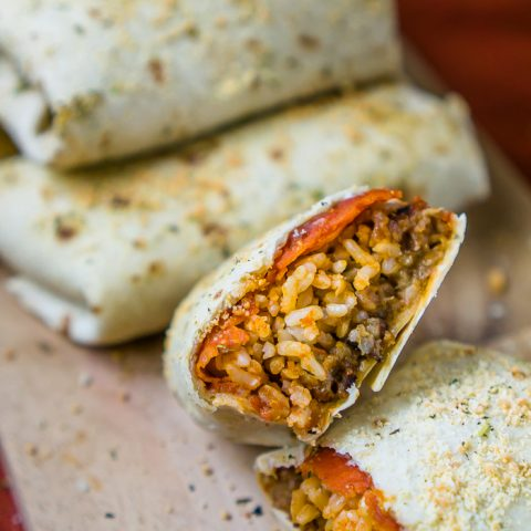Baked Pizza Burritos