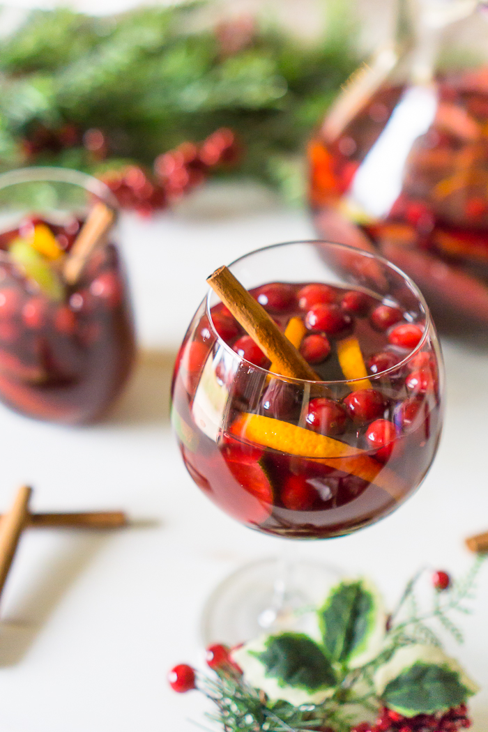 Make sure to impress your guests with a special holiday sangria recipe - red wine sangria with cranberries, oranges, and pears!