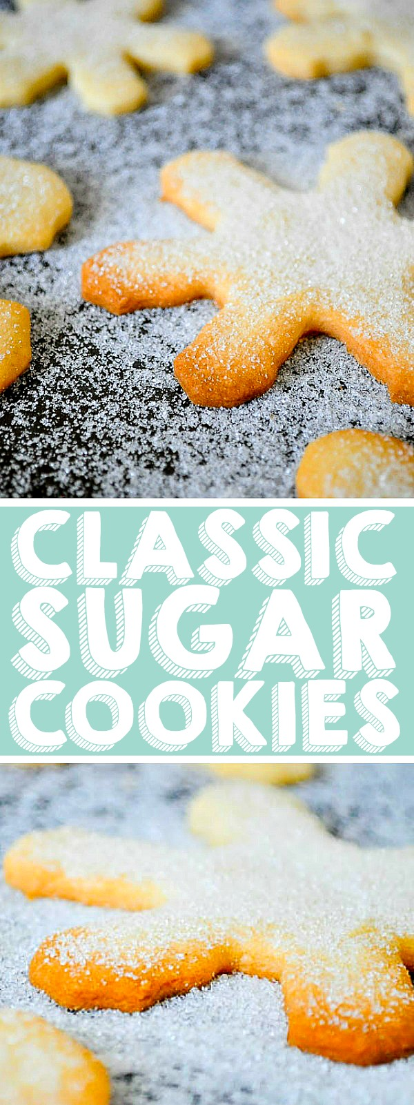Classic Sugar Cookies - You will not miss the royal icing on this old fashioned sugar cookie recipe.This holiday cookie recipe for roll out sugar cookies makes a large batch of a light and sweet holiday classic! Perfect for holiday cookie exchange parties or food Christmas gifts!| THE LOVE NERDS #christmascookie #christmasdessert #holidaycookie
