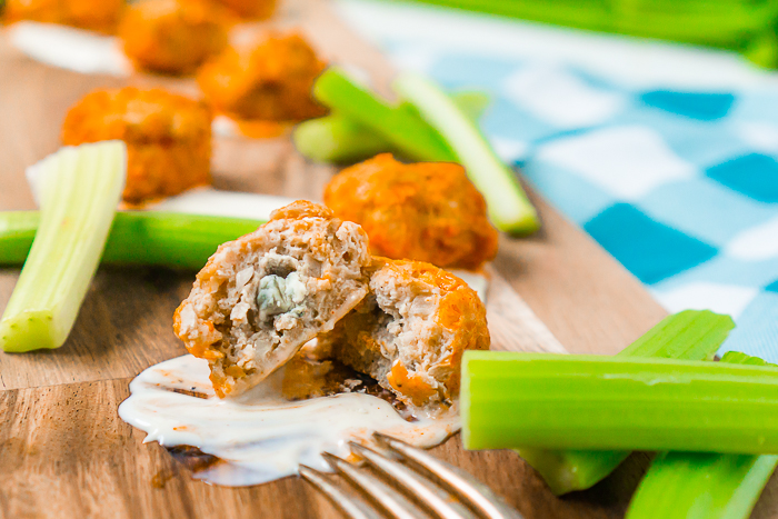 Perfect for football season!! If you love buffalo chicken, then these Blue Cheese Stuffed Buffalo Chicken Meatballs should definitely make the menu for your next get together or game day celebration. Healthier and far less messy than buffalo chicken wings without losing any of the spicy flavor everyone loves!