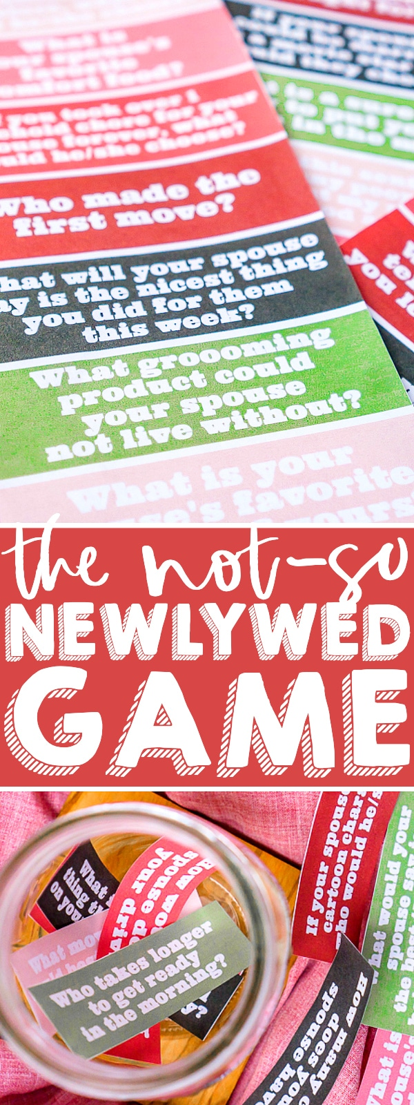 The Not So Newlywed Game is a Couples Game that tests how well you really know your partner! Enjoy as a cozy at home date night or host a fun couples' game night. Challenge your knowledge of one another and hopefully learn something new! | The Love Nerds #couplesquestions #datenightathome #couplesgames