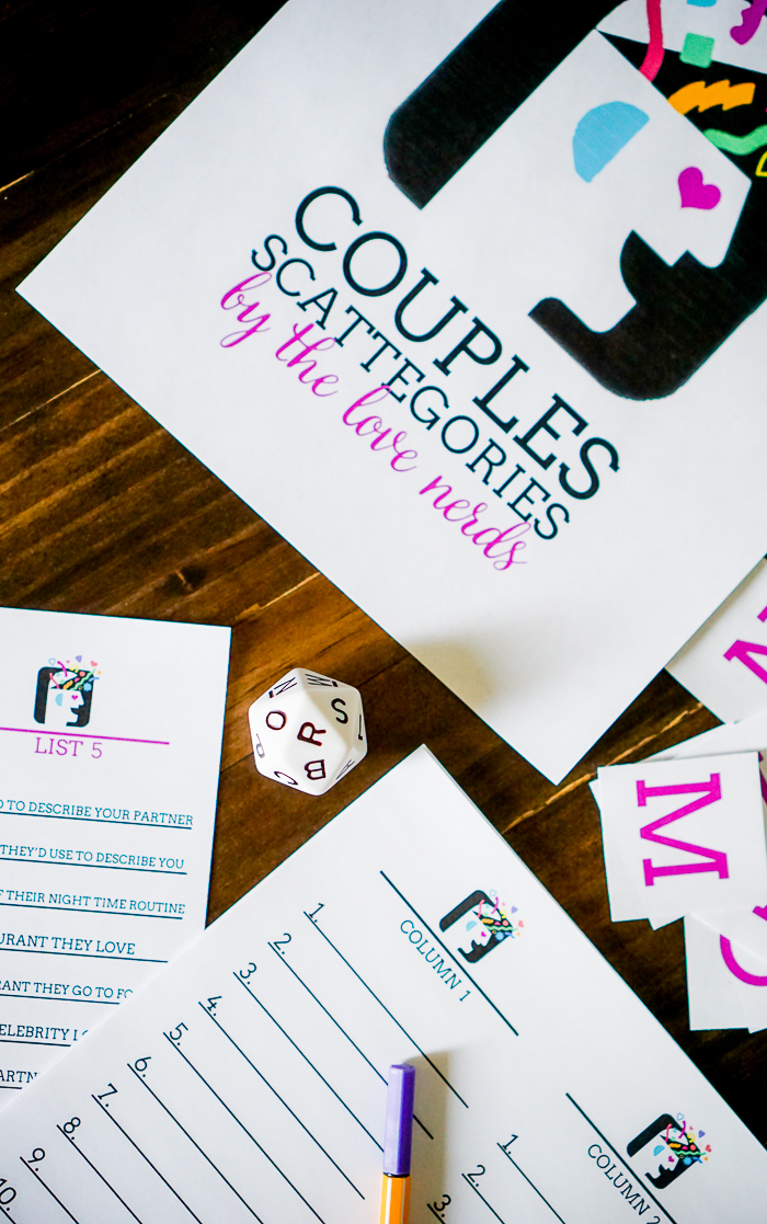 Fun couples games are our favorite stay at home date night ideas, especially this Couple's Scattergories! Special relationship themed Scattergories lists will have you laughing and reconnecting with your partner!