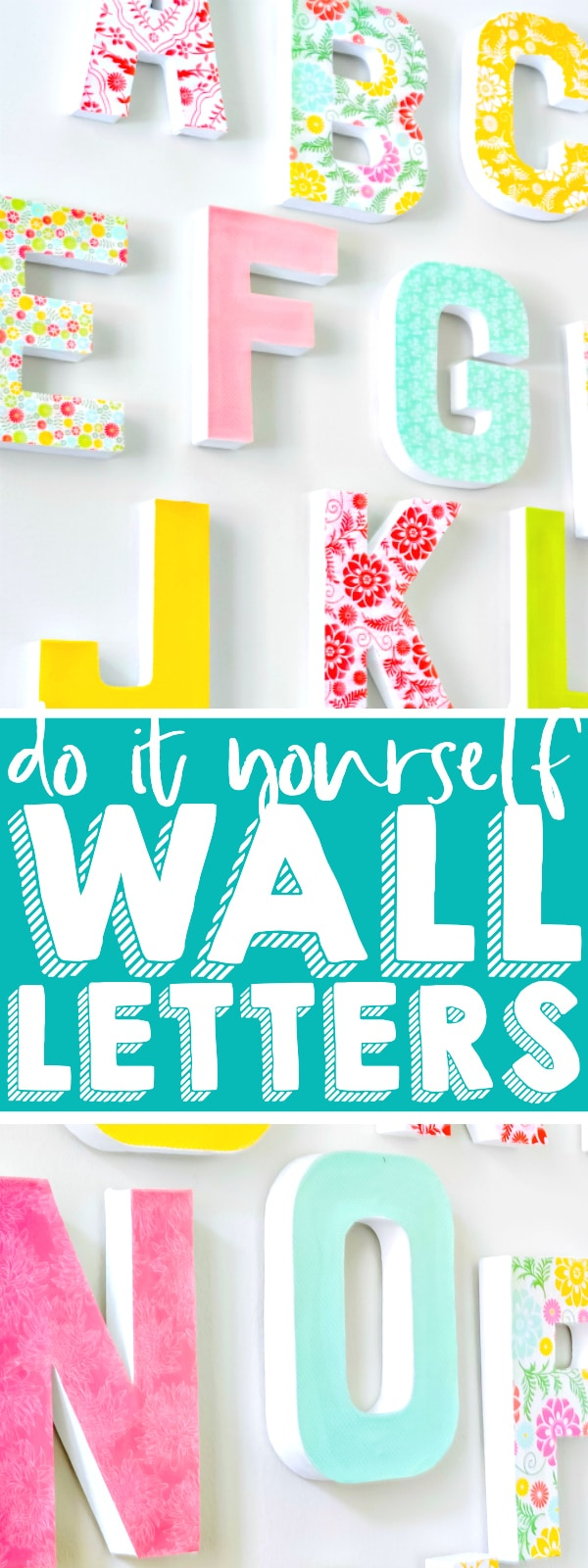 This letter wall decor makes a stunning statement piece gallery wall without the expense of buying them or the struggle of finding letters to match your home decor! These DIY wall letters make the perfect addition to your nursery, home office, classroom or playroom! | THE LOVE NERDS #diyhomedecor #wallprojects #nurseryart #playroomdecor