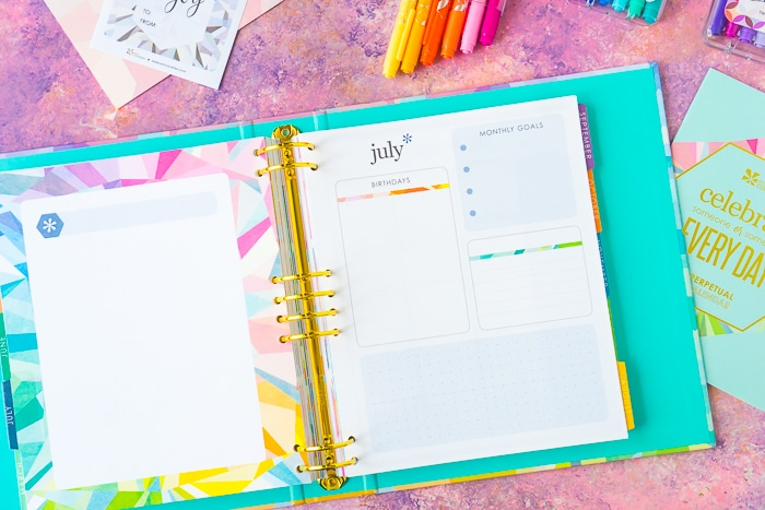 Erin Condren Life Planner Month spread with monthly goal setting, birthday list, and more!