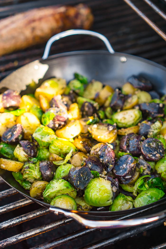 Yellow and purple potatoes with Brussels Sprouts on grill