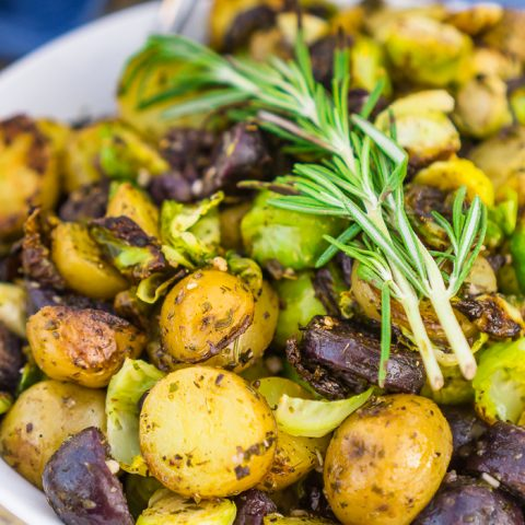 Garlic and Herb Grilled Potatoes and Brussels Sprouts