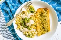 Easiest Garlic Bread Recipe with Four Cheese Chicken and Broccoli Pasta