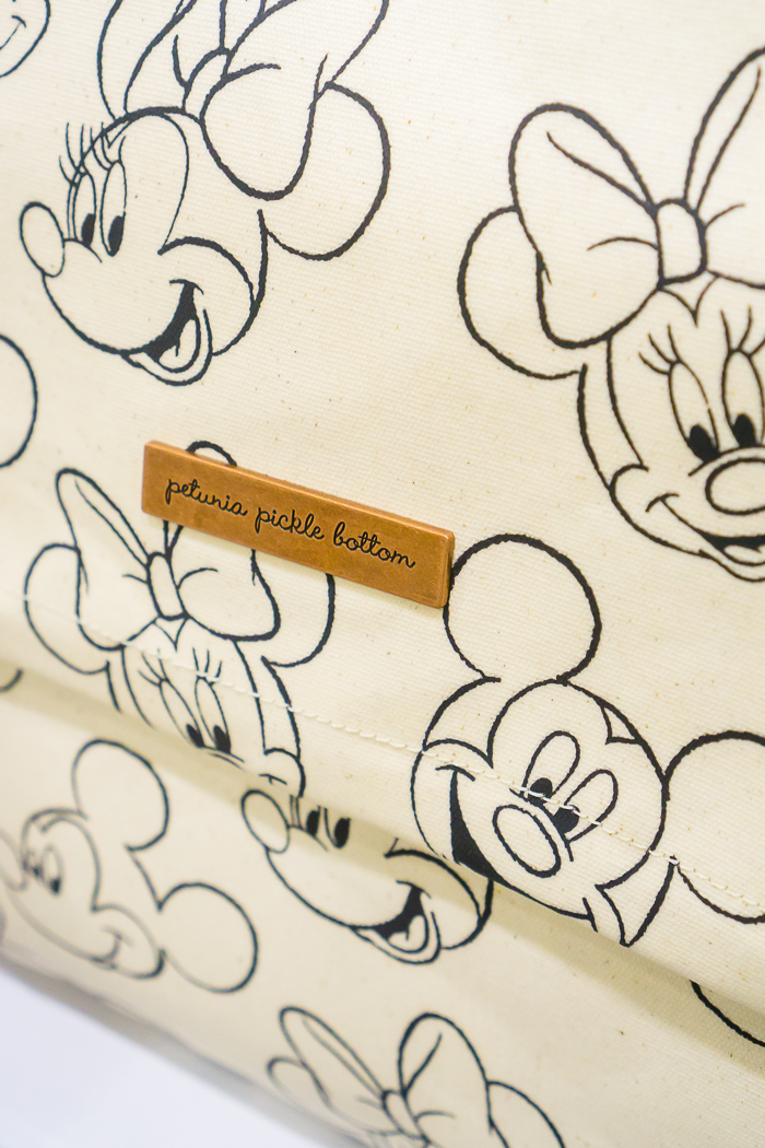 Disney collaboration bag of Mickey and Minnie with Petunia Pickle Bottom