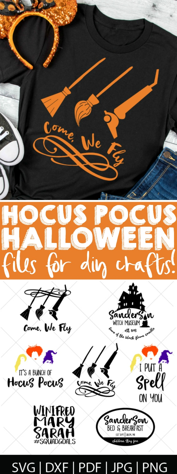 Come! We fly with our favorite witches - the Sanderson sisters!! Create a Disney Halloween with this Hocus Pocus SVG Bundle! These digital files are perfect for making DIY Halloween shirts that are great for your trip to Disney World, as well as Halloween decor and invites! | The Love Nerds #Disneycricut #diyHalloween