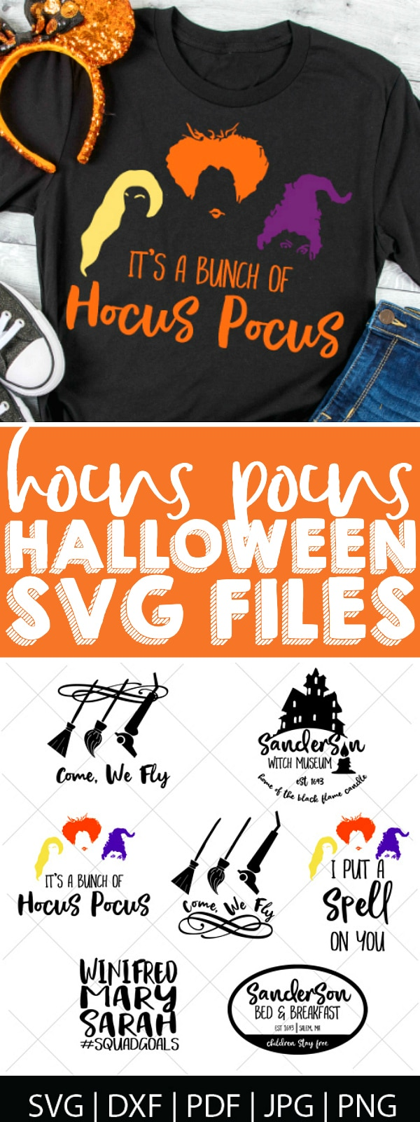 It's all a bunch of HOCUS POCUS! Celebrate Halloween and our favorite witch sisters with this Hocus Pocus SVG Bundle! These digital files are perfect for making Disney Halloween shirts, especially for Mickey's Not So Scary Halloween party, as well as Halloween decor and invites! | The Love Nerds #Disneycricut #diyHalloween