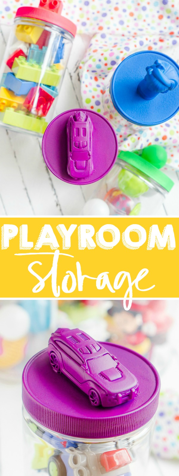 All parents know that the playroom can easily become a huge mess so I've created some colorful DIY Playroom Storage Containers! Create lids with easily identifiable toy labels in bright colors thanks to Plasti Dip. | The Love Nerds