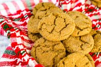 These Gingersnap Cookies are my favorite Christmas cookie! Soft, spiced cookies with rich molasses and a cracked, sugar top, these gingersnaps will be a hit all holiday season alongside hot cocoa, coffee, ice cream and more!