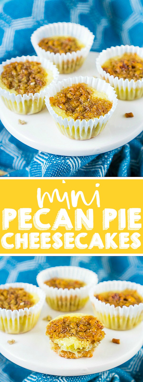 Combine two of the best desserts for one epic holiday dessert - Mini Pecan Pie Cheesecakes! Sweet and creamy cheesecakes with the deep, rich flavors of pecan pie filling make these an irresistible bite sized dessert, especially since they are both easy to make and serve! | THE LOVE NERDS #thanksgivingdessert #Christmasdessert #pecanpiecheesecake #pecanpierecipe