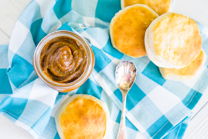 This 5 ingredient Slow Cooker Pumpkin Butter is absolutely addicting and a fall pumpkin recipe staple for us because it makes the perfect ingredient for fall baked goods, main dish recipes and even morning toast! | THE LOVE NERDS