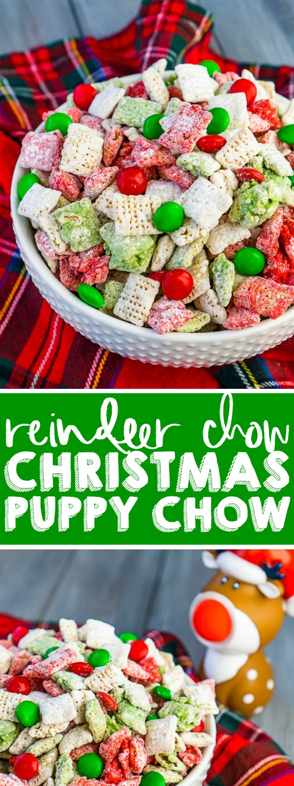 Forget the carrots! This holiday season, leave this Reindeer Chow {aka Christmas Puppy Chow} out on Christmas Eve instead of carrots! This holiday party mix recipe is filled with festive white, red, and green to celebrate the season!! Perfect for your Christmas parties or gift exchanges with neighbors and friends. | THE LOVE NERDS #muddybuddies