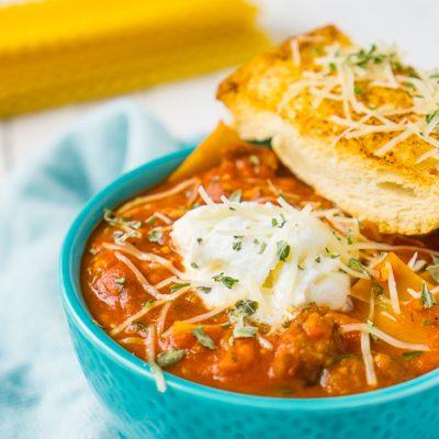 One Pot Three Cheese Lasagna Soup