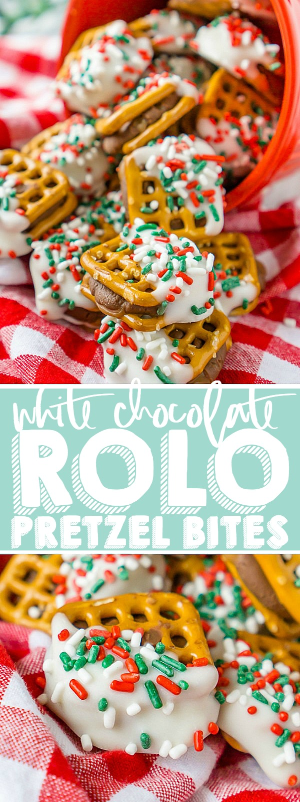 It doesn't get much better than a salty, chocolate and caramel combination! These Holiday Rolo Pretzel Bites are perfection in a bite sized dessert that can be easily customized for any holiday with a change of sprinkles!!| THE LOVE NERDS #christmascandy #christmasdessert #candyrecipe #holidayrecipe